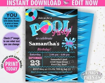 INSTANT DOWNLOAD / Birthday Invitation / Pool / Waterslide / Swimming / Summer / Party Beach Invite Girl pink Purple Teal Chalkboard BDP5