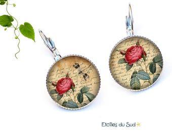 red vintage peony flowers earrings, surgical steel hooks, ref.217