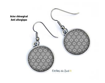 Printed circles ear jackets / surgical steel hooks, resin cabochon