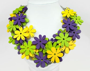 Necklace with wooden flowers Romantic C484 Gift for her Colorful necklace Wooden necklace Boho Eco  jewelry Colorful necklace