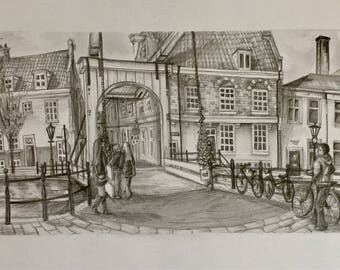 Staalmeestersbrug - Original A3 Graphite Drawing of Amsterdam