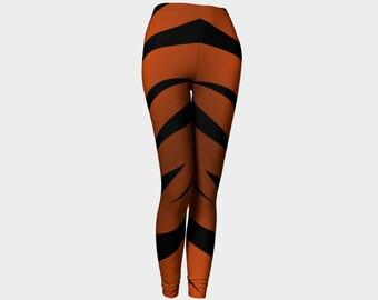 Funky Halloween leggings, Cat leggings, Tiger leggings, Orange and black stripe leggings