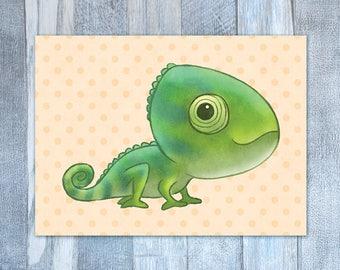 Green Chameleon Card