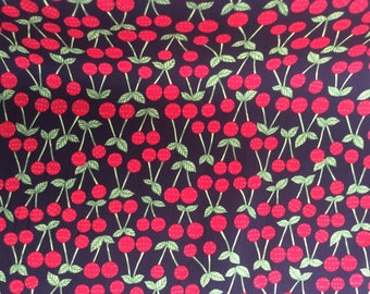 High quality cotton poplin, printed in Japan, cherries on black