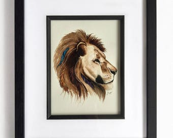 Lion watercolour painting, Lioness painting, African artwork, Lion Decor, Native American Art, Original lion painting, jungle nursery, boho