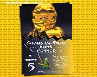 Ninjago Invitation, Lloyd Ninjago, Gold Ninjago Birthday Invitation, Ninja Lego Birthday Invitation, Ninja Birthday Invitation