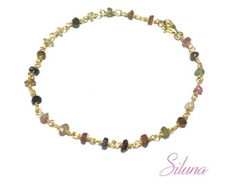 Tourmaline, Vermeil Rosary chain bracelet (sterling silver 925 gold plated)