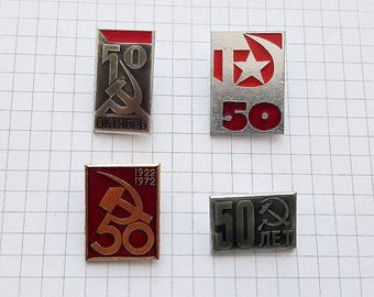 50 years anniversary of the foundation of the USSR state vintage soviet pin badges