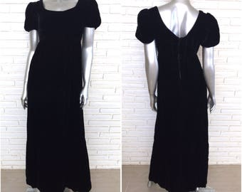 Vintage Black Velvet Empire Waist Peasant Dress Size Small 1970's Hippie Full Length Off the Shoulder Dress
