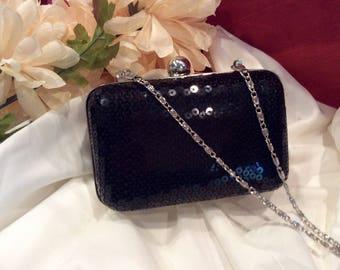 Retro, black sequin box clutch