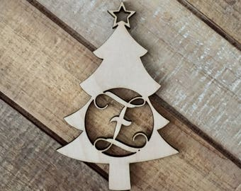 Monogram Christmas Tree Ornament - Laser Cut Natural Wood Christmas Ornament - Personalized Holiday Ornament -Christmas Tree Custom Ornament