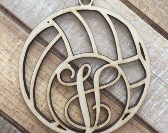 Monogram Volleyball Christmas Ornament - Personalized Volleyball Player Ornament - Volley Ball Ornament - Volleyball Initial Ornament