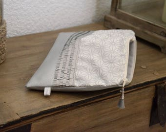 Silver faux leather and cotton pouch