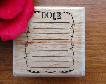 Notepad Rubber Stamp by Kolette Hall 2008, Wood Mounted, Studio G, Note Pad, Lined List