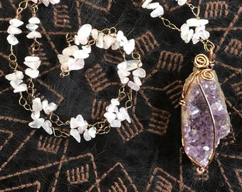 Amethyst and rose quartz healing crystal necklace
