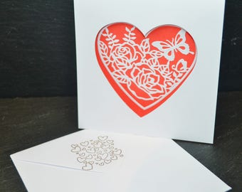 Big Heart on White Card