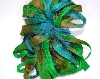 5 & 10YD. SEASIDE Sari Silk Bundle//Dyed Silk Sari Ribbon Bundle//Sari Tassels,Sari Wall Decor,Sari Fiber Jewelry,Sari Tapestry