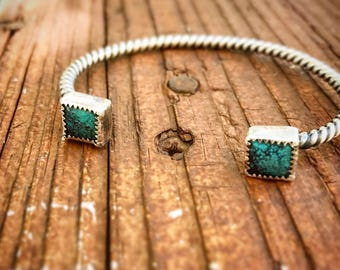 Sterling silver rope and turquoise cuff Bracelet