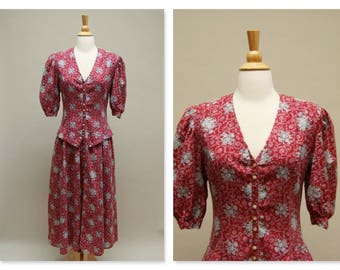 Vintage Gunne Sax Dress ⎮ Vintage 80s Maxi Dress ⎮ Cranberry Red Floral Dress