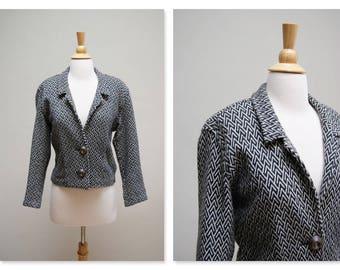 Vintage 1980s Tapestry Jacket ⎮ 80s Cropped Jacket ⎮ Vintage Boho Short Blanket Jacket