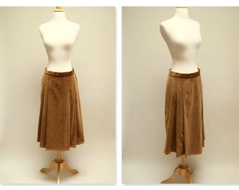70s Velvet Skirt ⎮ Vintage Brown Midi Skirt ⎮ 1970s Boho Pleated Skirt