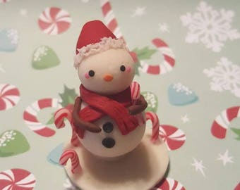 Large Snowman with Candy Cane base