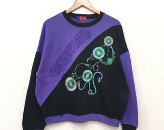 Rare!! UNGARO Pour Homme Paris Embroidery Biglogo Colour Block Sweatshirt Pullover Jumper large Size fits X large