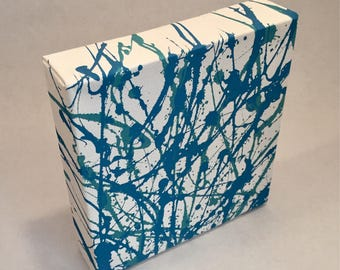 "Acrylic Blue Drip Painting; Jackson Pollock Inspired Abstract Art; Hand Painted Canvas Wall Decor; 6"" by 6"""