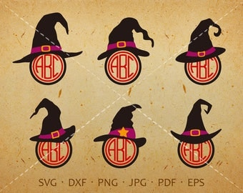 Witch Hat SVG,  Halloween Hat Monogram SVG with Circle Font, Witch Hat Clipart Shirt SVG Silhouette Cricut Cut Files