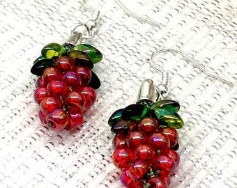 Berry Garland beaded Kumihimo earrings