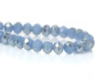 Crystal beads in glass flat round blue faceted 4 mm 1 row (Env.148PCs