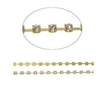 String 1 M, 4x4mm clear rhinestone gold claw rhinestones