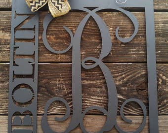 Front Door Hanger, Front Door Wreath, Last Name Sign, Home Decor, Metal