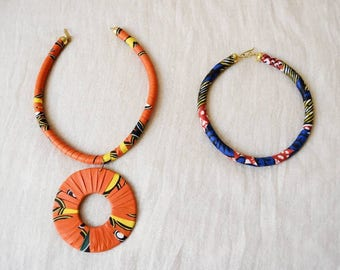 African Ankara Print Jewelry | Rope Necklaces | Ethnic, Fabric, Kente, Wood | handmade by Maasai women in Kenya