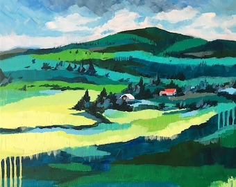 PRINT landscape contemporary modern acrylic canvas art teal green turquoise valley countryside home office decor Shweta Patil Free ship USA