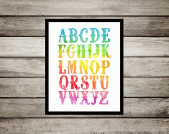 Rainbow,bright,colorful,Nursery,ABC,Nursery Decor, Wall Art,Nursery Print,Alphabet Poster,Watercolor,nursery,playroom, print,gift for baby