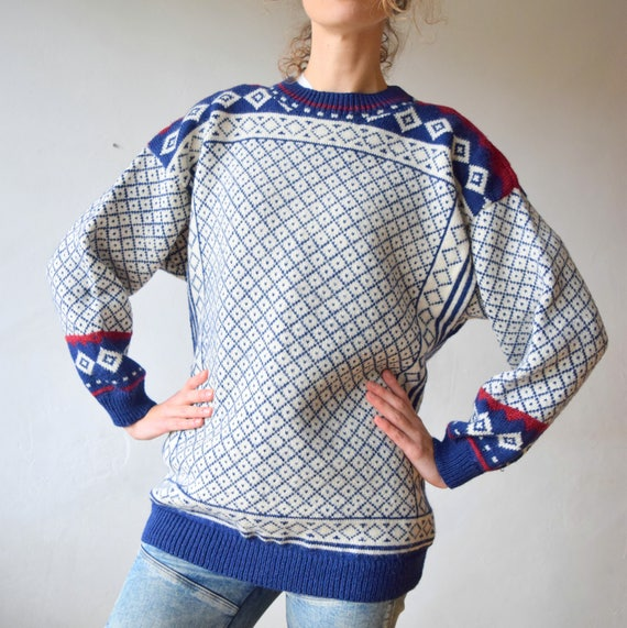Handmade wool sweater, navajo pullover, men's sweater, wool jumper, winter sweater, oversized women sweater, highlanders sweater, L/M (TW26)