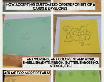 Accepting Customized Orders for Set of 6 Cards & Envelopes