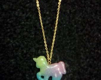LoliRosa Glitter Rainbow Ombre Unicorn Necklace