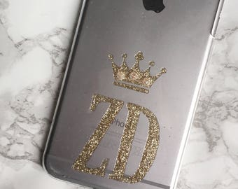 Unique personalised | custom intials | jewelled  crown transparent | clear phone cover | case for iPhone and Samsung Galaxy