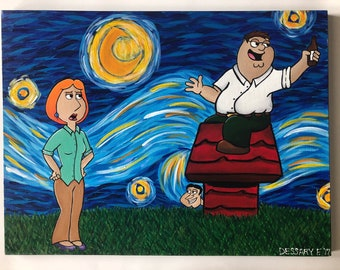 Lois and Peter's Starry Night / Family Guy Painting / Peter Griffin Painting / Lois Painting / Large Family Guy Painting
