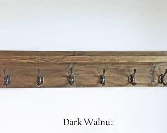 Coat Rack Wood  Rustic Reclaimed Six Hooks
