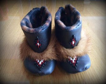 Mink and Leather Baby Mukluk Booties, Size 3-6 months, Custom Made