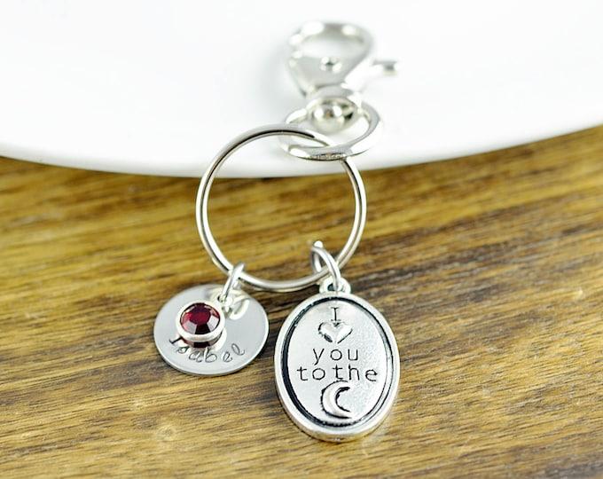 I Love You to the Moon and Back Keychain - Moon and Back Key Chain - Mom Gift/ Child Gift - Personalized Keychain - Custom Keychain