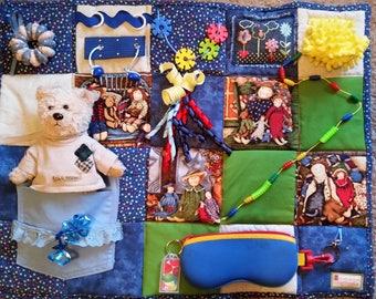 Very Best Friends Fidget Blanket - Quilt for Dementia, Alzheimers, Stroke and Nursing Home patients