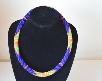 African Maasai Beaded Necklace | Zulu Necklace |Dark Blue Necklace | Tribal Ethnic Necklace | Elegant Necklace | Bead Necklace |Gift for Her