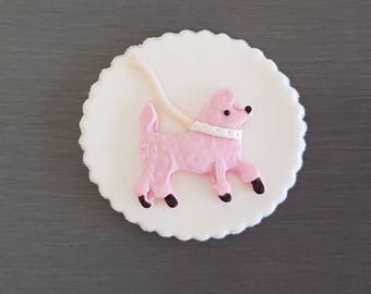 6 x Poodle Cupcake Toppers, Parisian Cupcake decorations, Paris party, dog, dog cupcake toppers, fondant poodle cake topper.