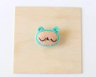 Teal Bear Crochet Brooch   Handmade Crochet Pin, Handmade Brooch, Crochet Flair, Pin Collector, Yarn Pin, Yarn Brooch, Bear Brooch