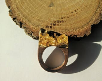 Wood Resin Ring, Made in Italy, Handmade Ring, B.Black n.1, Unique piece, Wood resin jewelry, Handmade Jewelry