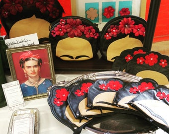 Sale for Cinco de Mayo, Original Design Leather Frida Kahlo Purse, Handbag, Leather Purse, Made to Order, Mexican Artist, Fridamania